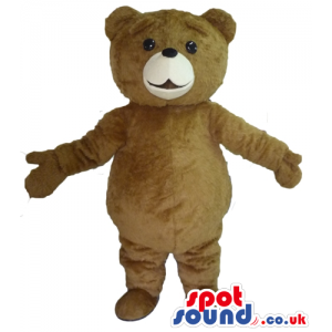 Smiling brown bear mascot with beige detail round the mouth -