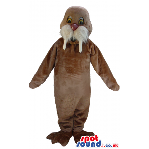 Brown walrus mascot with fluffy moustache and white tusks -