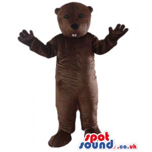 Brown bear mascot costume with 2 large white teeth - Custom