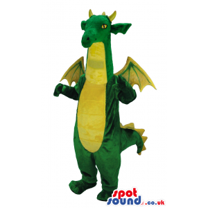 A flying green and yellow dragon mascot with a long tail -