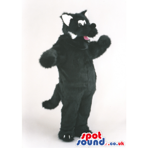 Plush cat mascot costume in a black with long tail - Custom