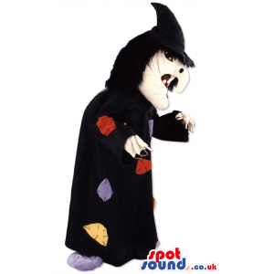 Wizard mascot with long black cloak, big face and hooked nose -