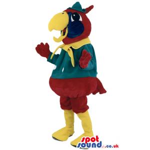 Bird mascot costume with green hat and golden beak - Custom