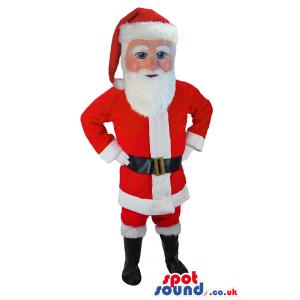Santa Clous mascot in red coat with long, white beard - Custom