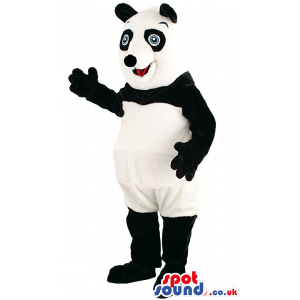 Delighted looking panda mascot with innocent blue eyes - Custom