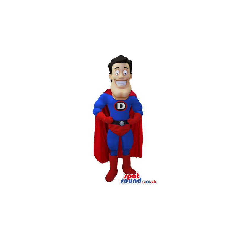 Superhero mascot wearing red and blue outfit with red cape -