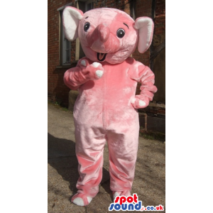 Pink plush elephant mascot with short trunk and black round