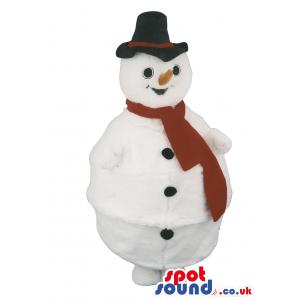 Snow man mascot with yellow nose and a red muffler in black hat