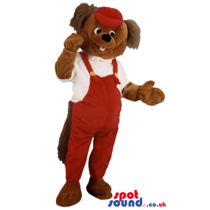 Squirrel mascot wearing red cap, white shirt and red overalls -